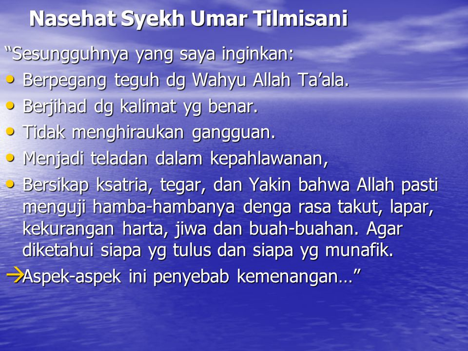Nasehat Syekh Umar Tilmisani
