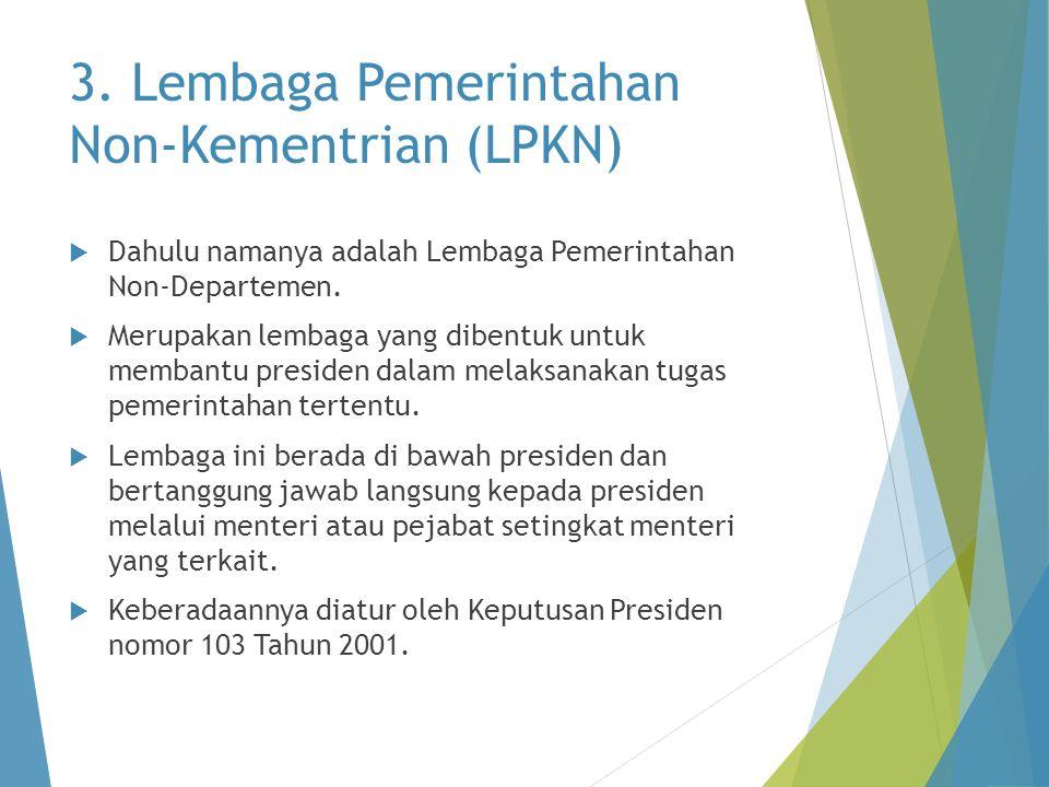 3. Lembaga Pemerintahan Non-Kementrian (LPKN)