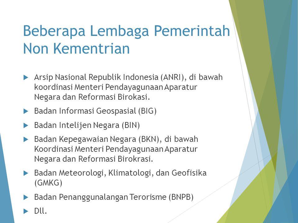 Beberapa Lembaga Pemerintah Non Kementrian