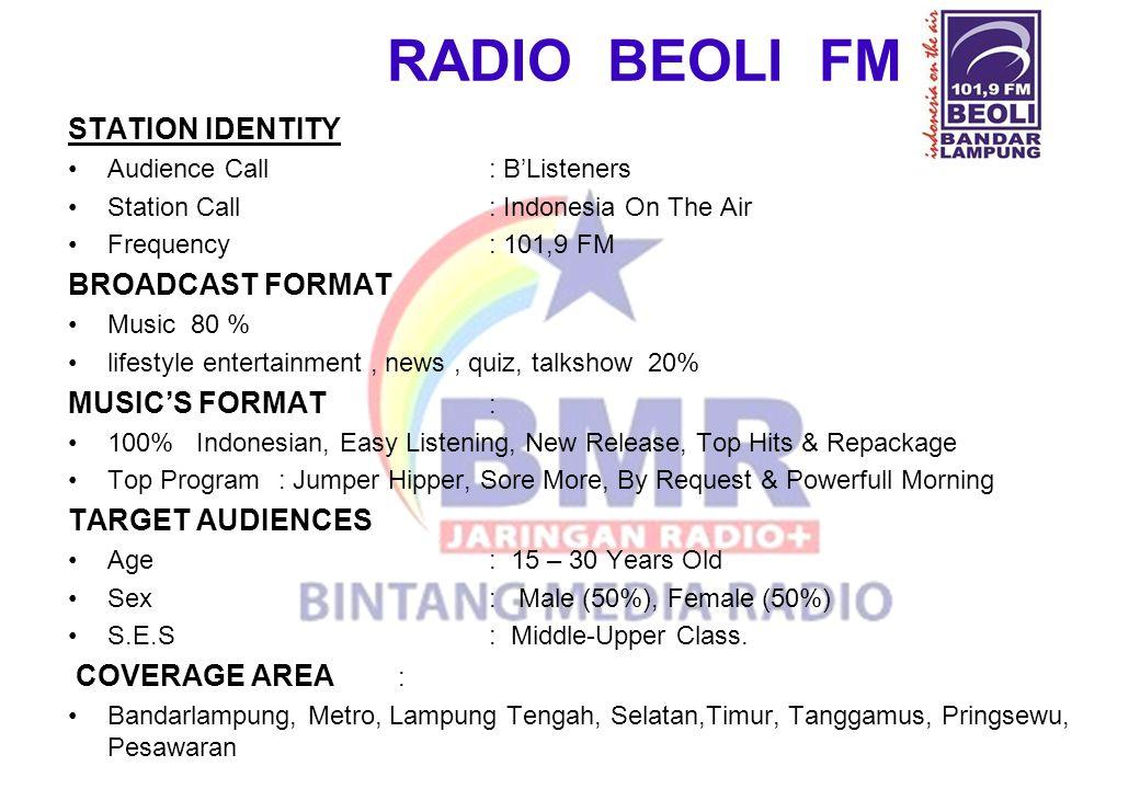 RADIO BEOLI FM STATION IDENTITY BROADCAST FORMAT MUSIC'S FORMAT :