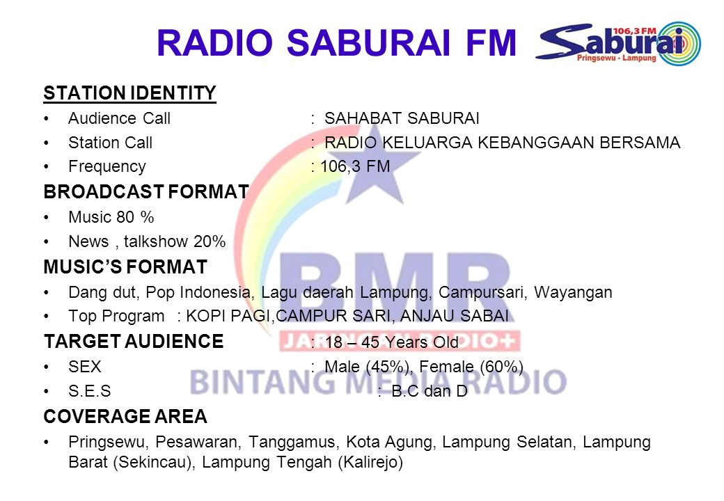 RADIO SABURAI FM STATION IDENTITY BROADCAST FORMAT MUSIC'S FORMAT