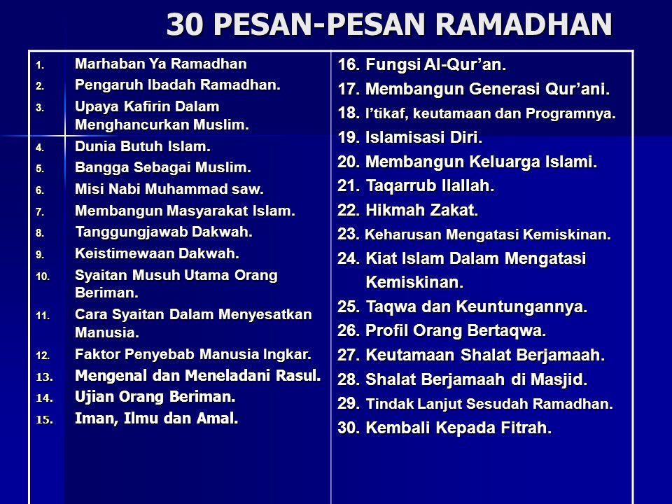 30 PESAN-PESAN RAMADHAN 16. Fungsi Al-Qur'an.