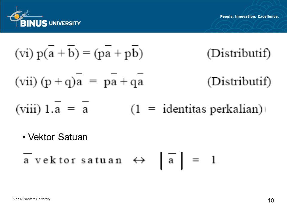 • Vektor Satuan Bina Nusantara University