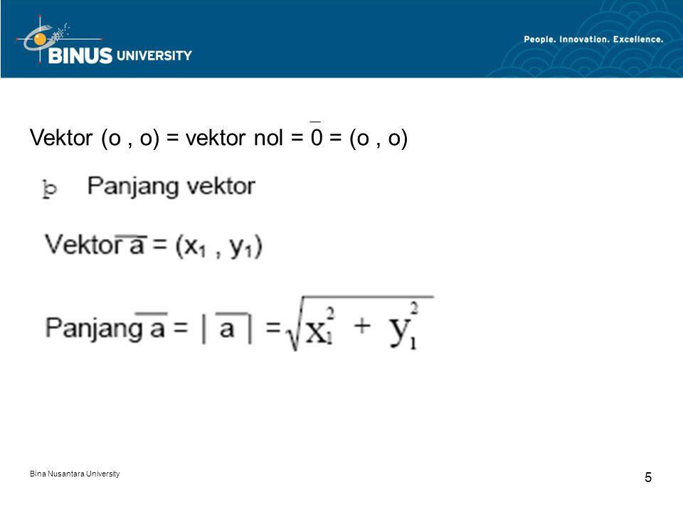 Vektor (o , o) = vektor nol = 0 = (o , o)