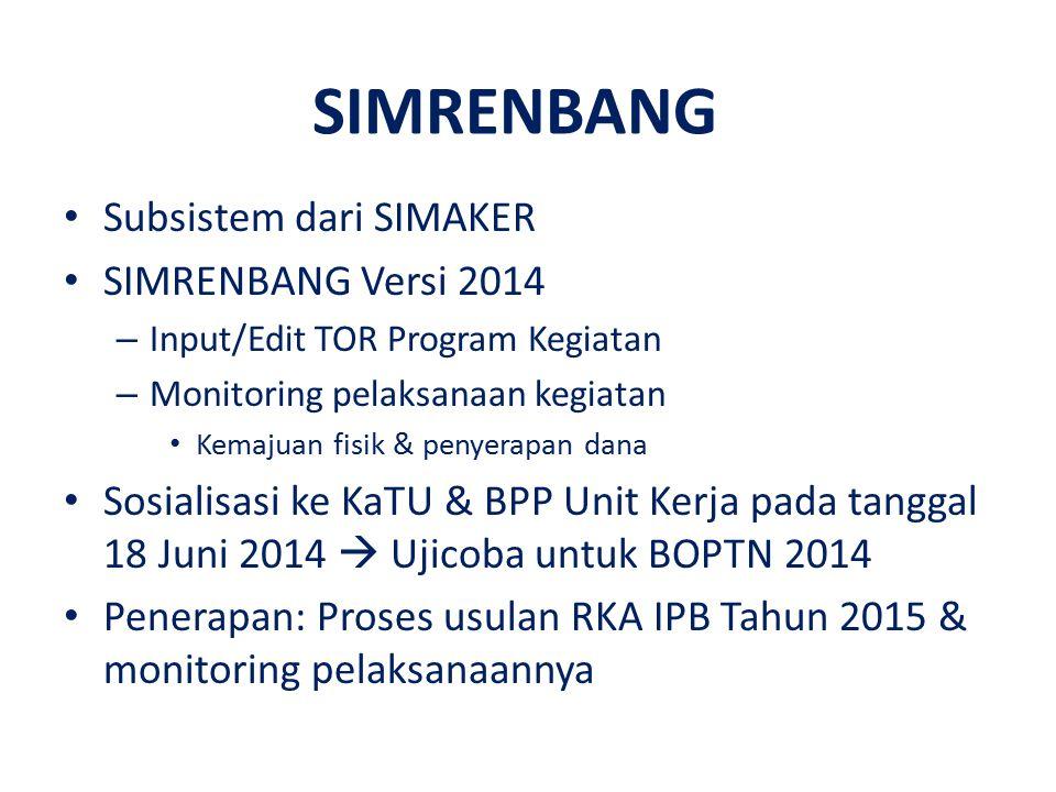 SIMRENBANG Subsistem dari SIMAKER SIMRENBANG Versi 2014