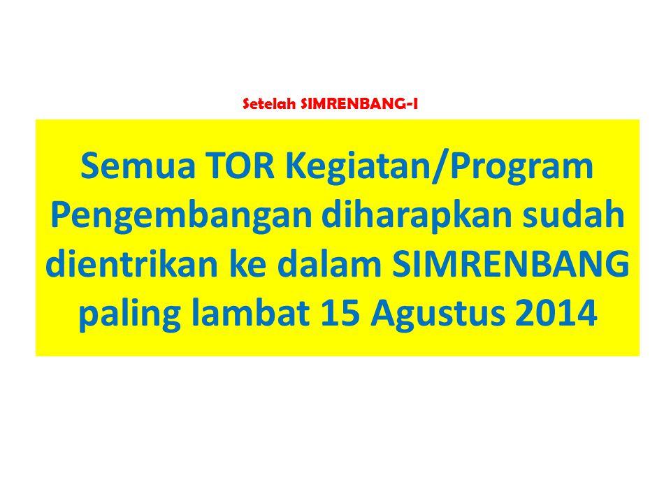 Setelah SIMRENBANG-I Semua TOR Kegiatan/Program Pengembangan diharapkan sudah dientrikan ke dalam SIMRENBANG paling lambat 15 Agustus 2014.