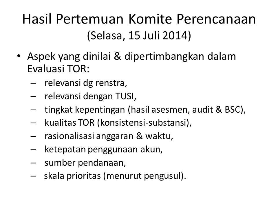 Hasil Pertemuan Komite Perencanaan (Selasa, 15 Juli 2014)