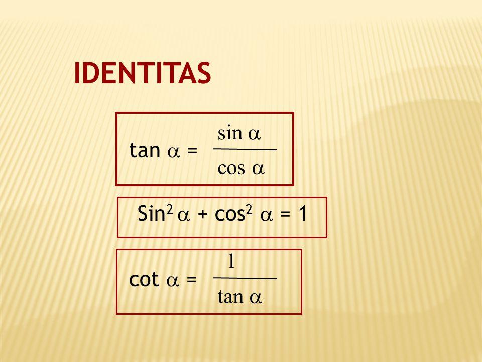 IDENTITAS cos  sin  tan  = Sin2  + cos2  = 1 tan  1 cot  =