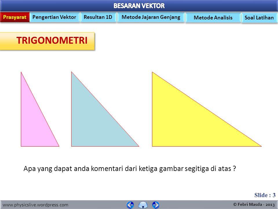 TRIGONOMETRI Apa yang dapat anda komentari dari ketiga gambar segitiga di atas