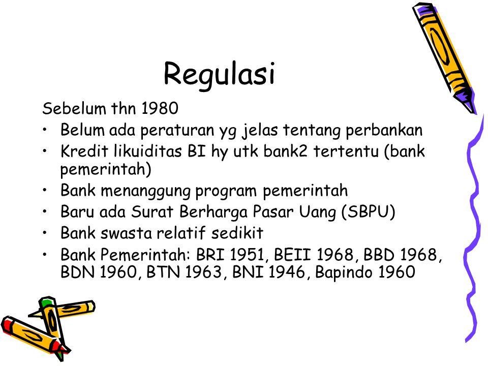 Regulasi Sebelum thn 1980. Belum ada peraturan yg jelas tentang perbankan. Kredit likuiditas BI hy utk bank2 tertentu (bank pemerintah)