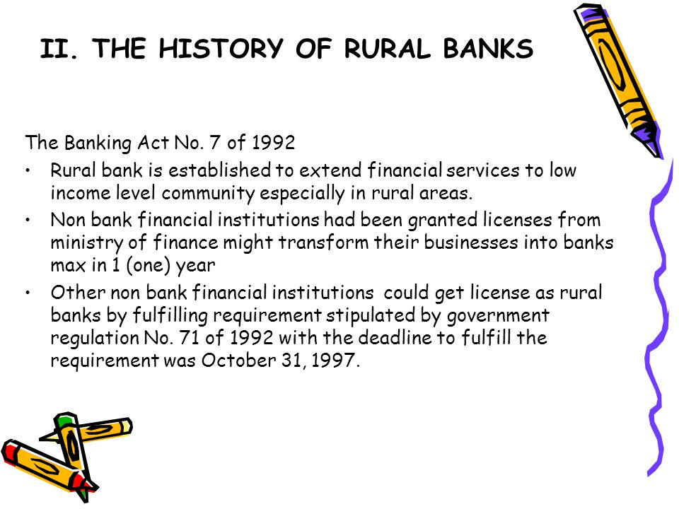 II. THE HISTORY OF RURAL BANKS