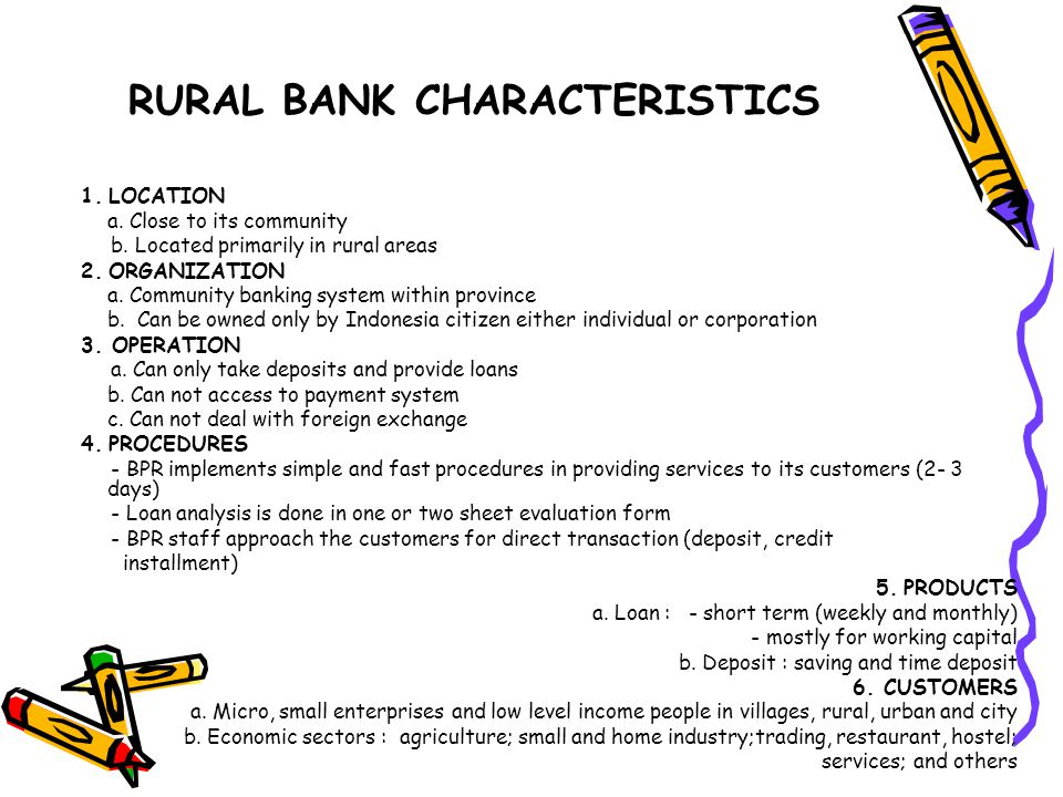 RURAL BANK CHARACTERISTICS