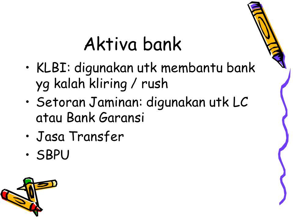 Aktiva bank KLBI: digunakan utk membantu bank yg kalah kliring / rush