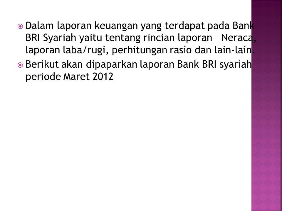 Dalam laporan keuangan yang terdapat pada Bank BRI Syariah yaitu tentang rincian laporan Neraca, laporan laba/rugi, perhitungan rasio dan lain-lain.