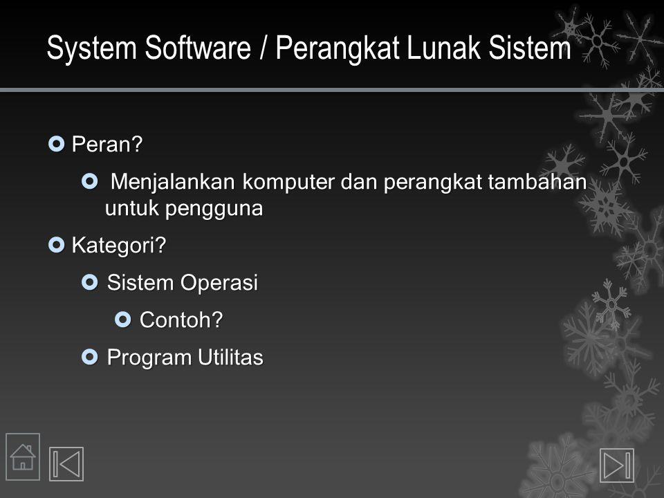 System Software / Perangkat Lunak Sistem