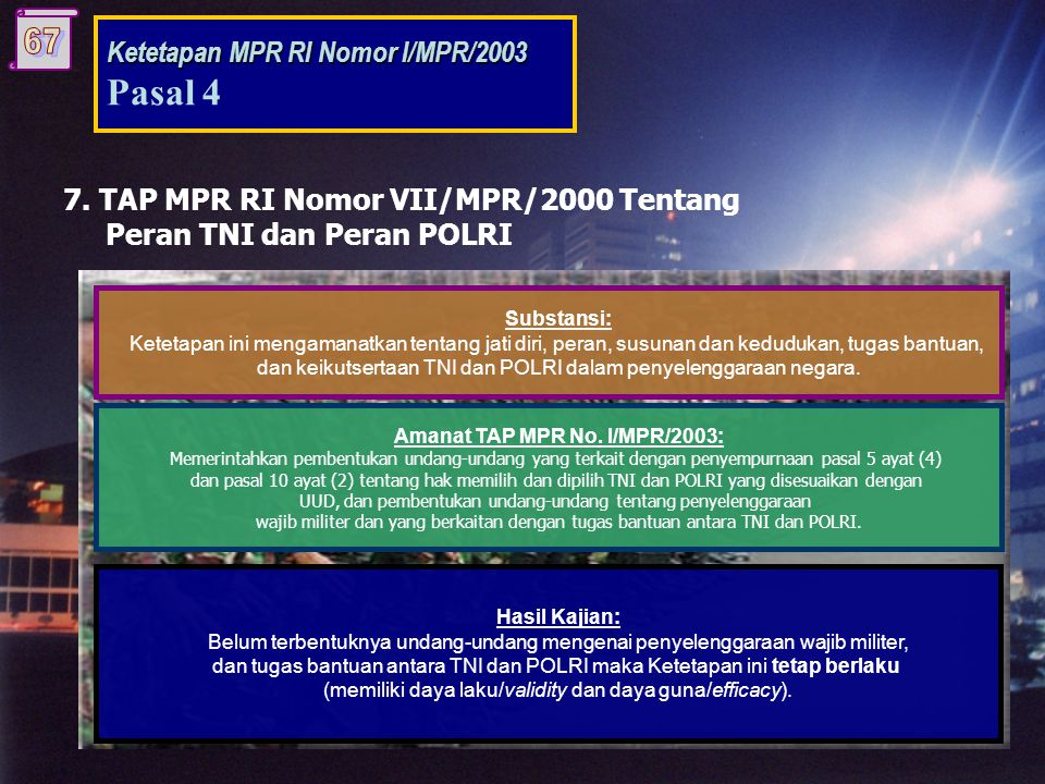 Amanat TAP MPR No. I/MPR/2003: Amanat TAP MPR No. I/MPR/2003: