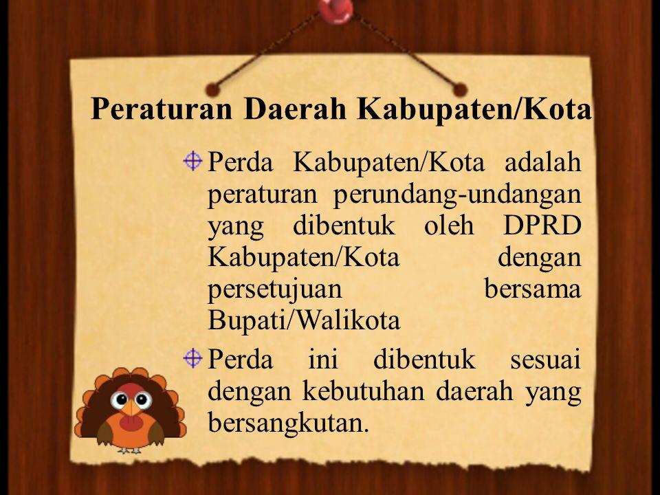 Peraturan Daerah Kabupaten/Kota