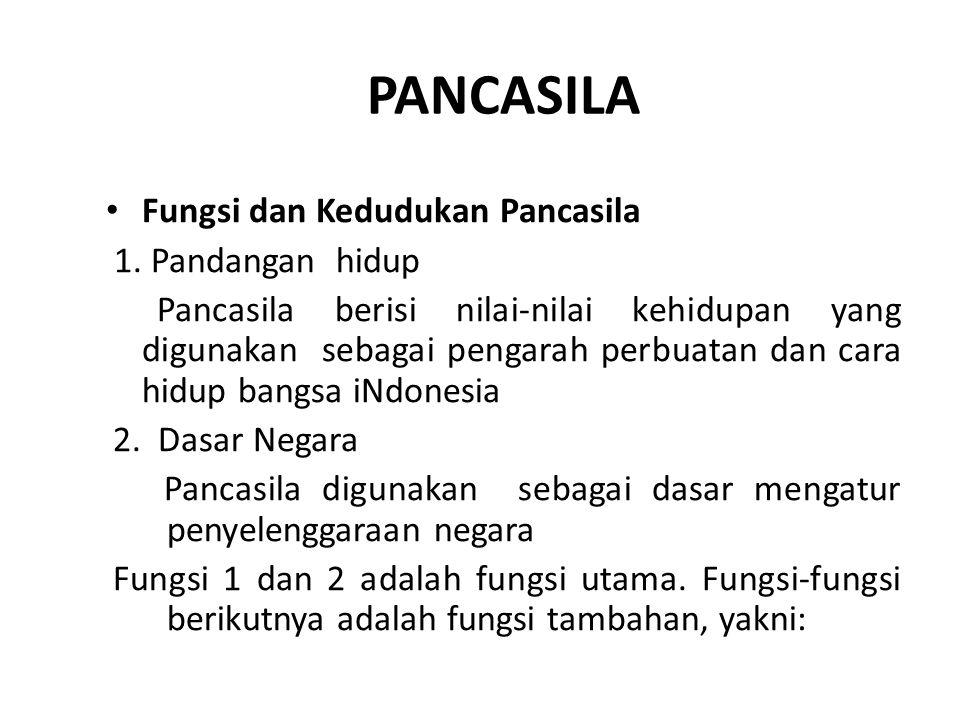 PANCASILA Fungsi dan Kedudukan Pancasila 1. Pandangan hidup