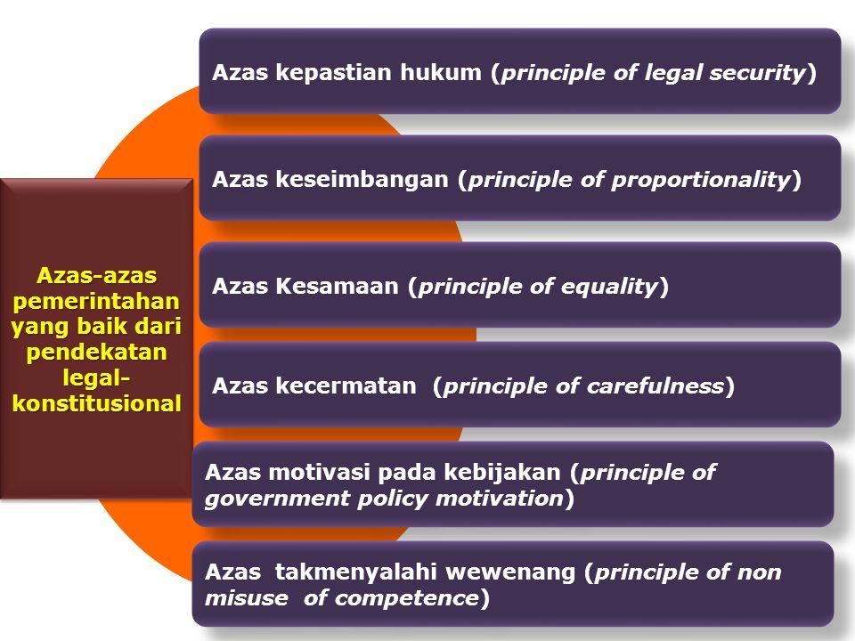 Azas-azas pemerintahan yang baik dari pendekatan legal-konstitusional