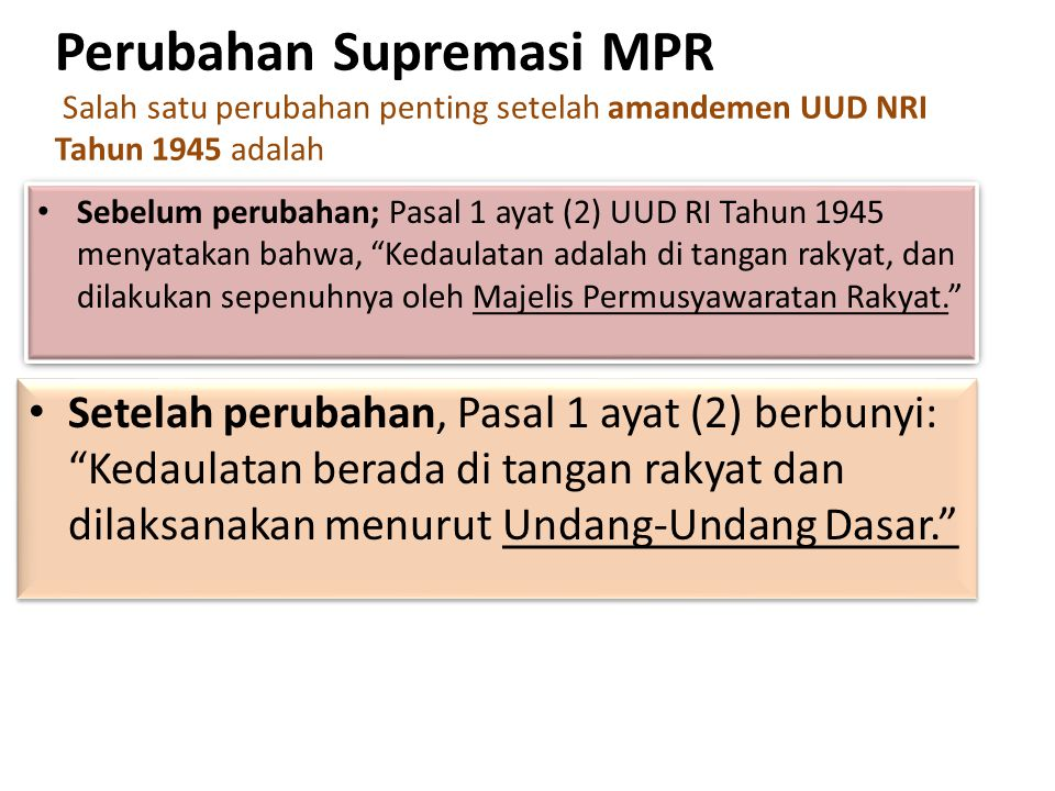 Perubahan Supremasi MPR Salah satu perubahan penting setelah amandemen UUD NRI Tahun 1945 adalah