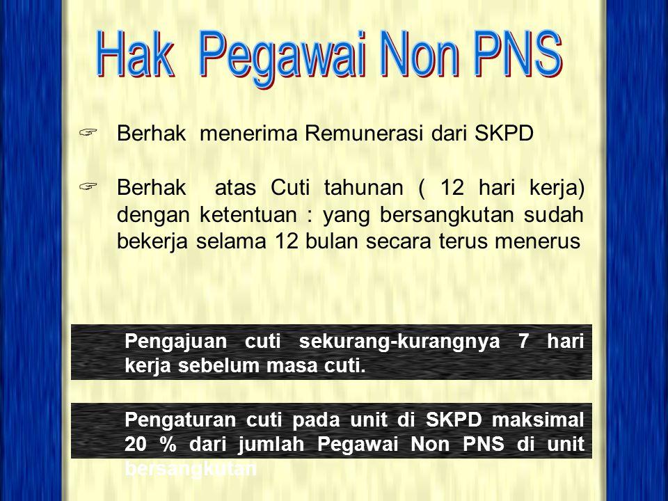 Hak Pegawai Non PNS Berhak menerima Remunerasi dari SKPD