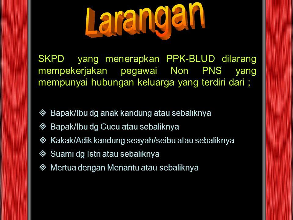 Larangan SKPD yang menerapkan PPK-BLUD dilarang mempekerjakan pegawai Non PNS yang mempunyai hubungan keluarga yang terdiri dari ;