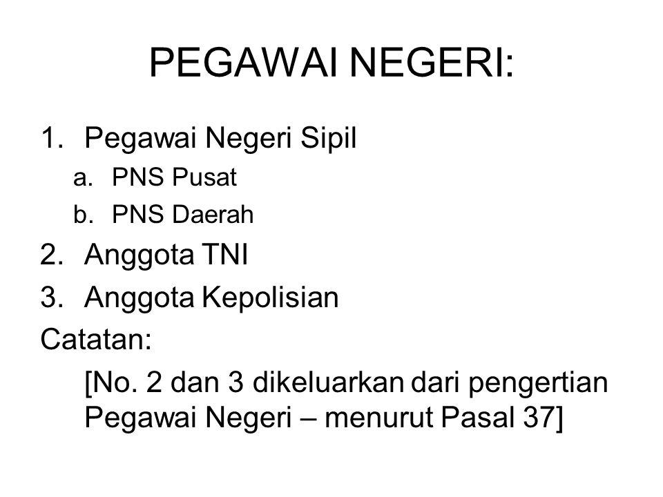 PEGAWAI NEGERI: Pegawai Negeri Sipil Anggota TNI Anggota Kepolisian