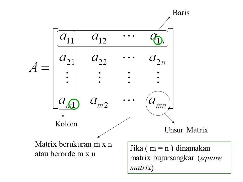 Baris Kolom. Unsur Matrix. Matrix berukuran m x n atau berorde m x n.
