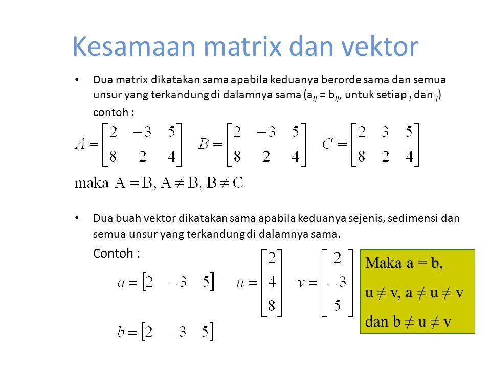 Kesamaan matrix dan vektor