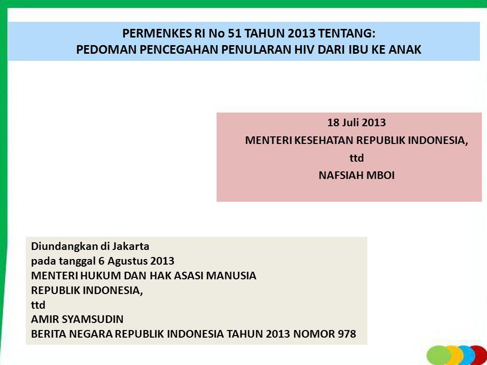18 Juli 2013 MENTERI KESEHATAN REPUBLIK INDONESIA, ttd NAFSIAH MBOI