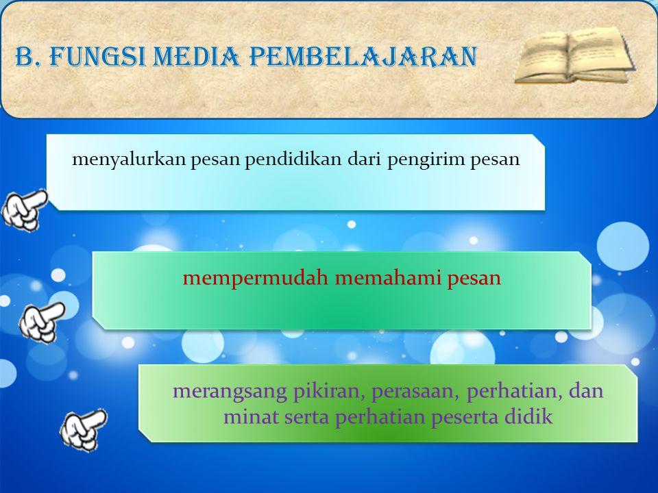 B. FUNGSI MEDIA PEMBELAJARAN