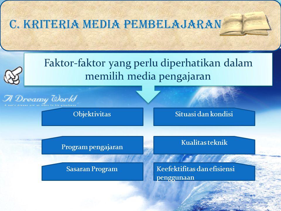 Faktor-faktor yang perlu diperhatikan dalam memilih media pengajaran