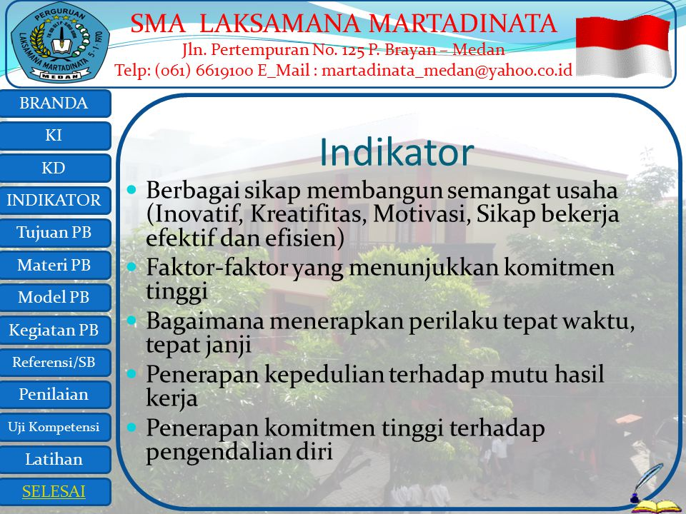 Indikator Berbagai sikap membangun semangat usaha (Inovatif, Kreatifitas, Motivasi, Sikap bekerja efektif dan efisien)