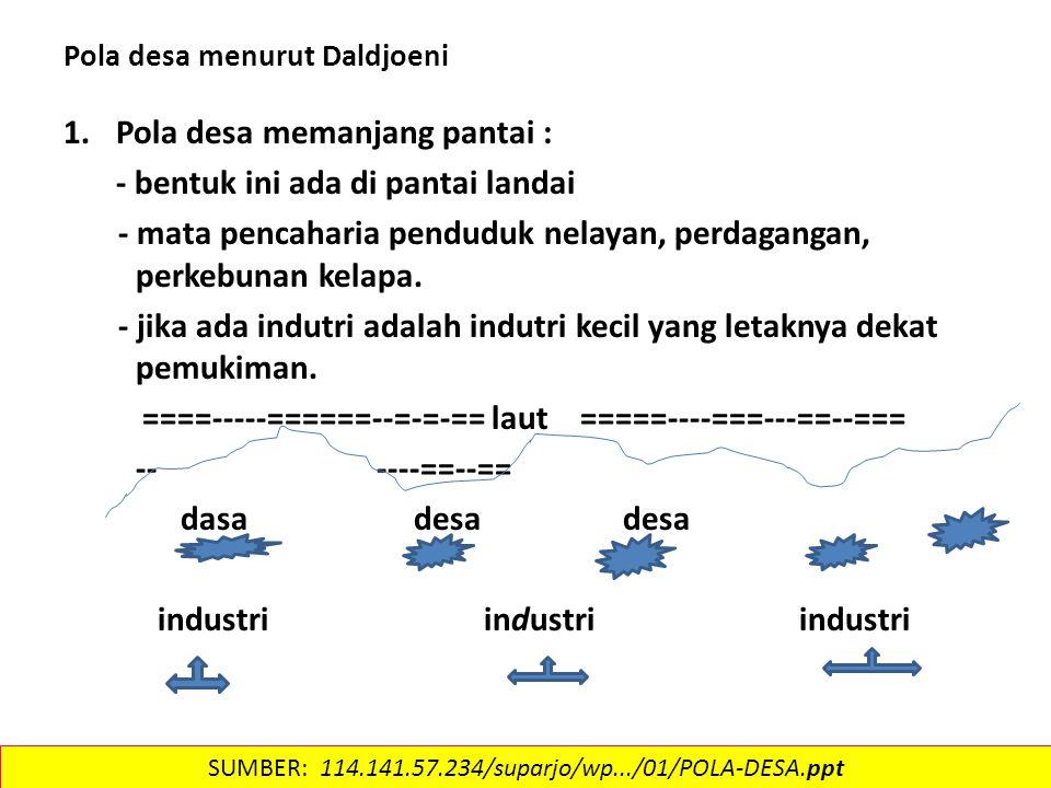 Pola desa menurut Daldjoeni