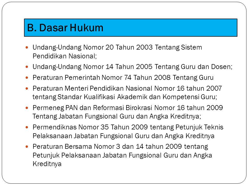 B. Dasar Hukum Undang-Undang Nomor 20 Tahun 2003 Tentang Sistem Pendidikan Nasional; Undang-Undang Nomor 14 Tahun 2005 Tentang Guru dan Dosen;
