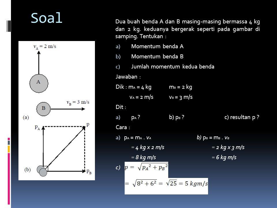 Soal Dua buah benda A dan B masing-masing bermassa 4 kg dan 2 kg. keduanya bergerak seperti pada gambar di samping. Tentukan :