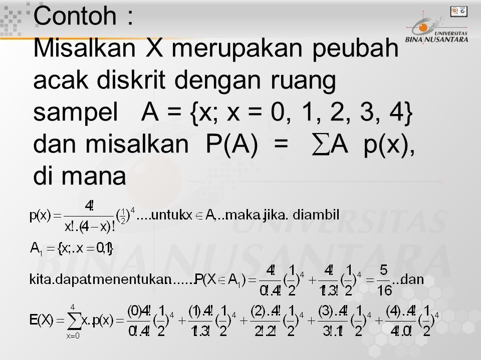 Contoh : Misalkan X merupakan peubah acak diskrit dengan ruang sampel A = {x; x = 0, 1, 2, 3, 4} dan misalkan P(A) = A p(x), di mana