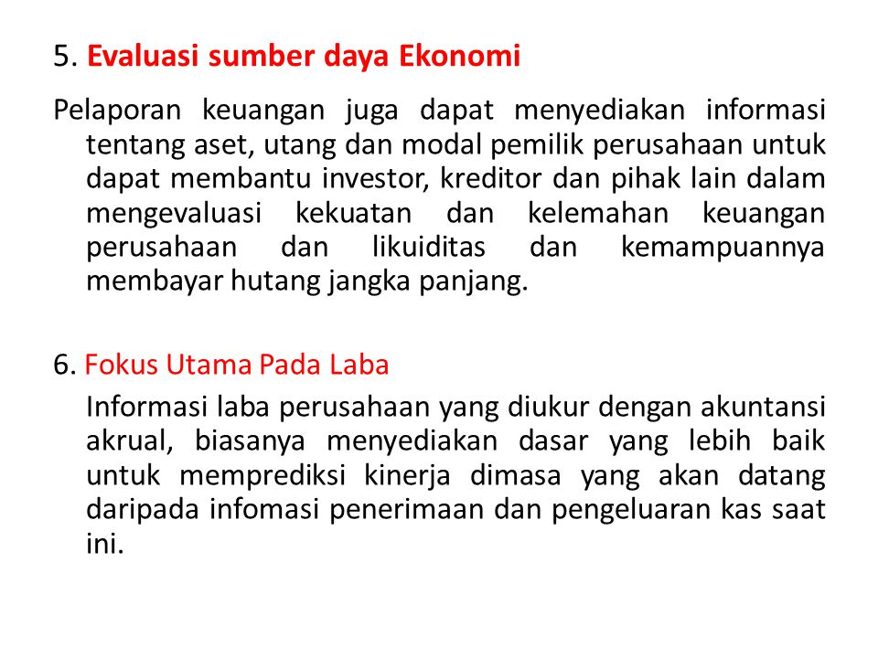 5. Evaluasi sumber daya Ekonomi