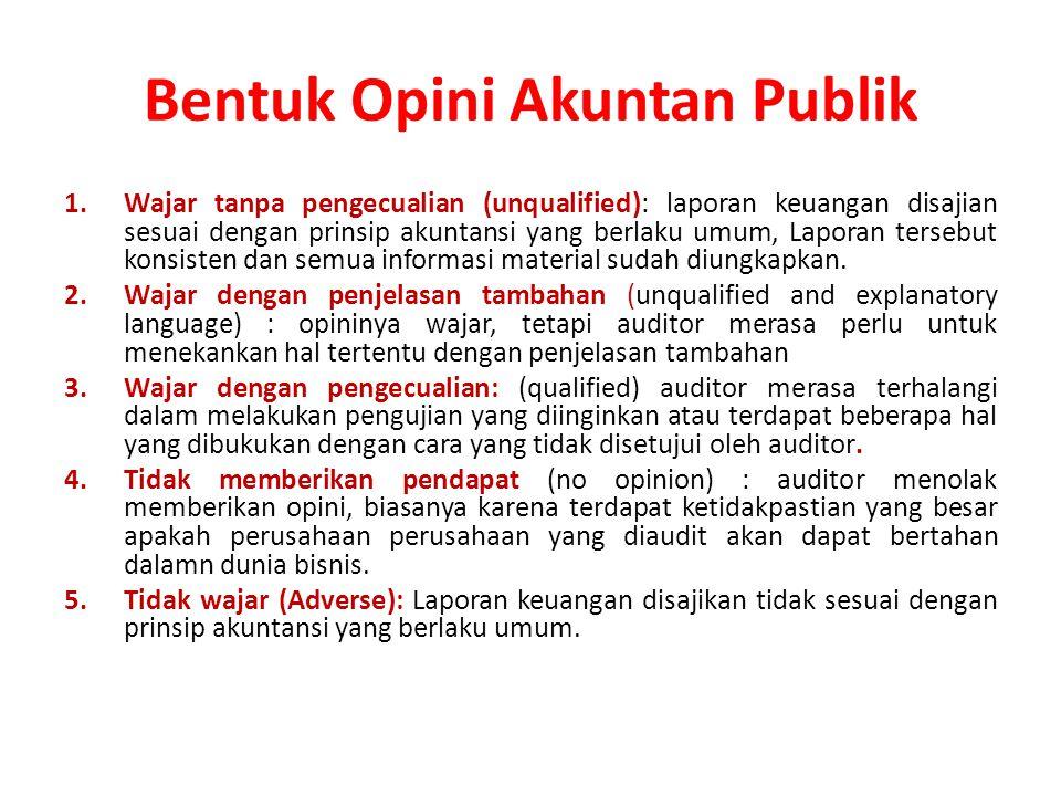 Bentuk Opini Akuntan Publik