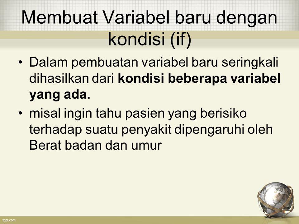 Membuat Variabel baru dengan kondisi (if)