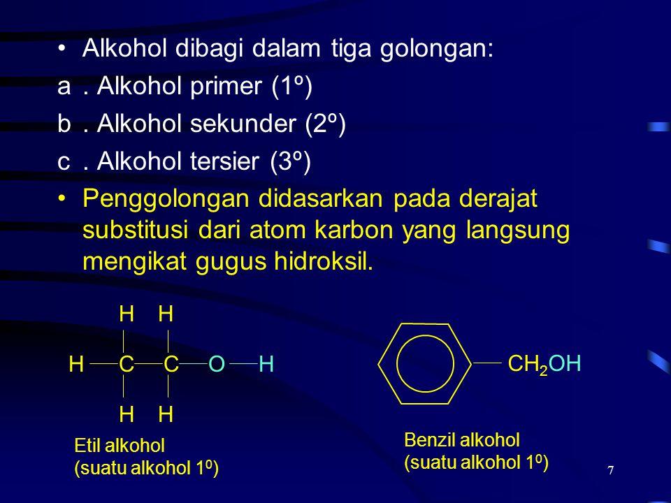 Alkohol dibagi dalam tiga golongan: . Alkohol primer (1º)