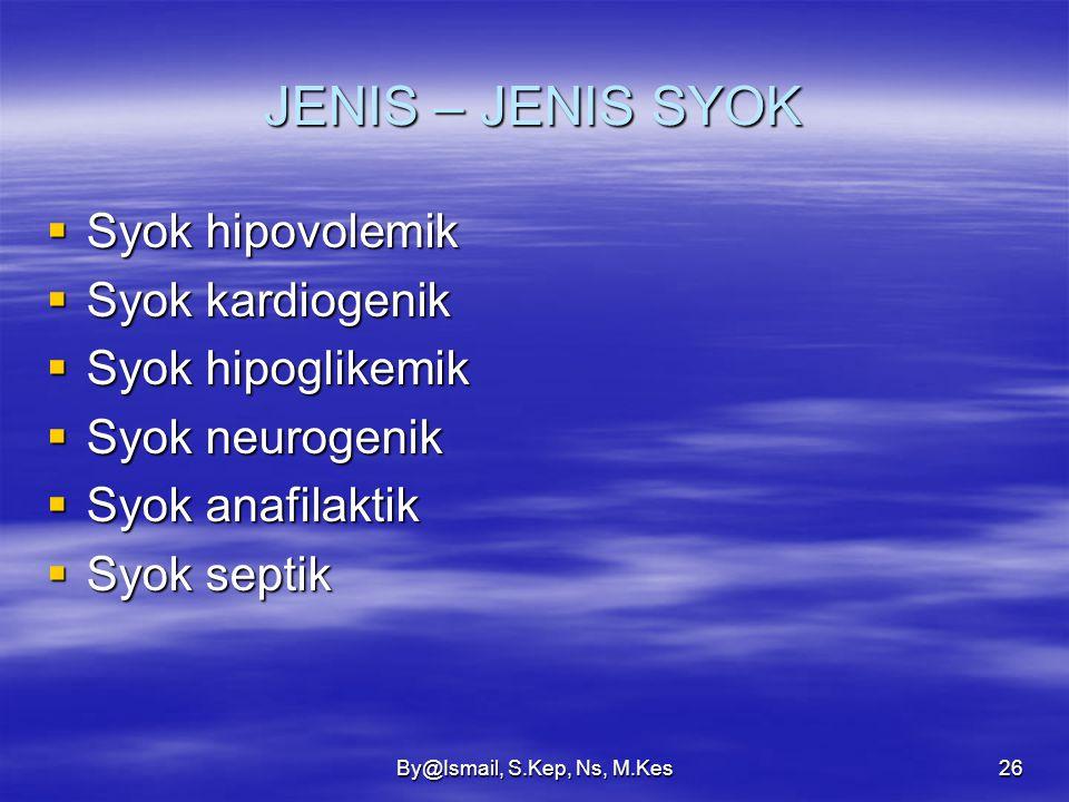 JENIS – JENIS SYOK Syok hipovolemik Syok kardiogenik Syok hipoglikemik