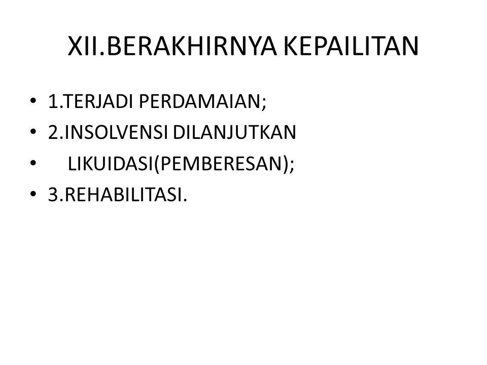 XII.BERAKHIRNYA KEPAILITAN