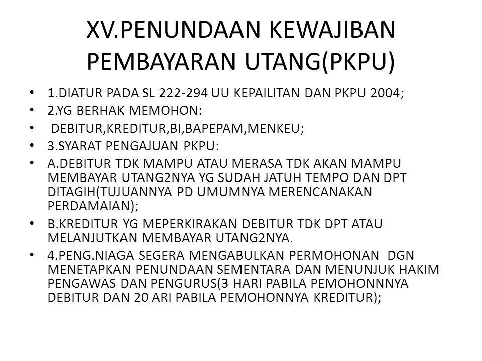 XV.PENUNDAAN KEWAJIBAN PEMBAYARAN UTANG(PKPU)