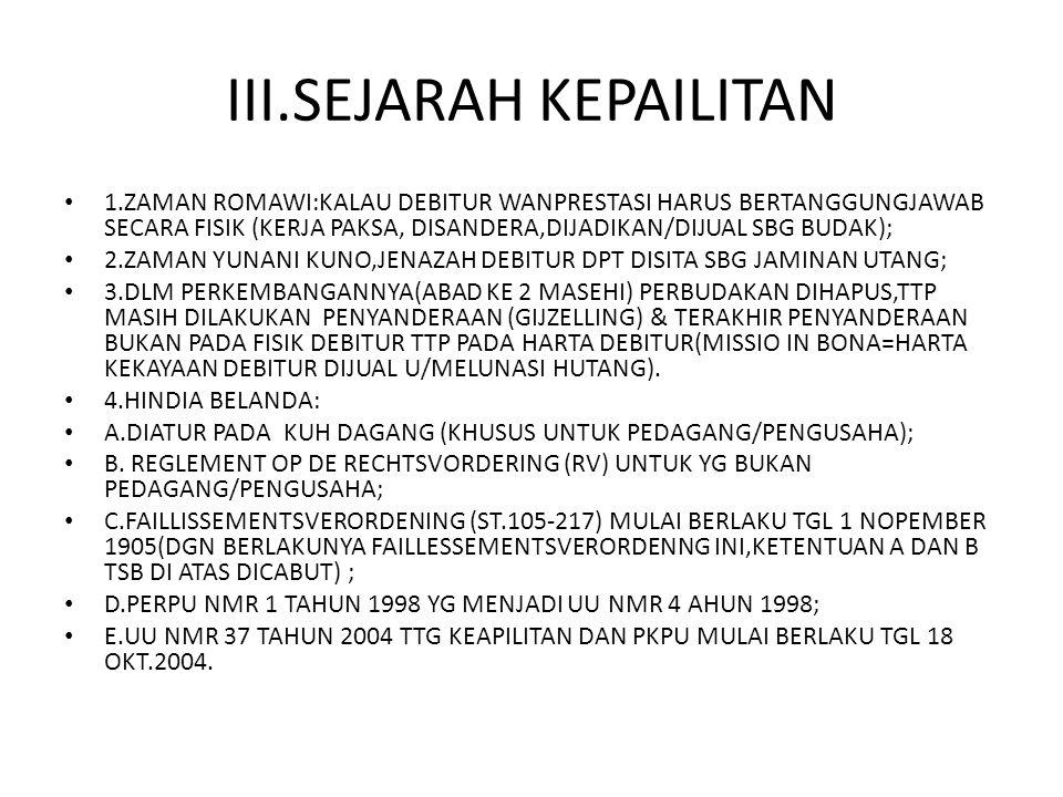 III.SEJARAH KEPAILITAN