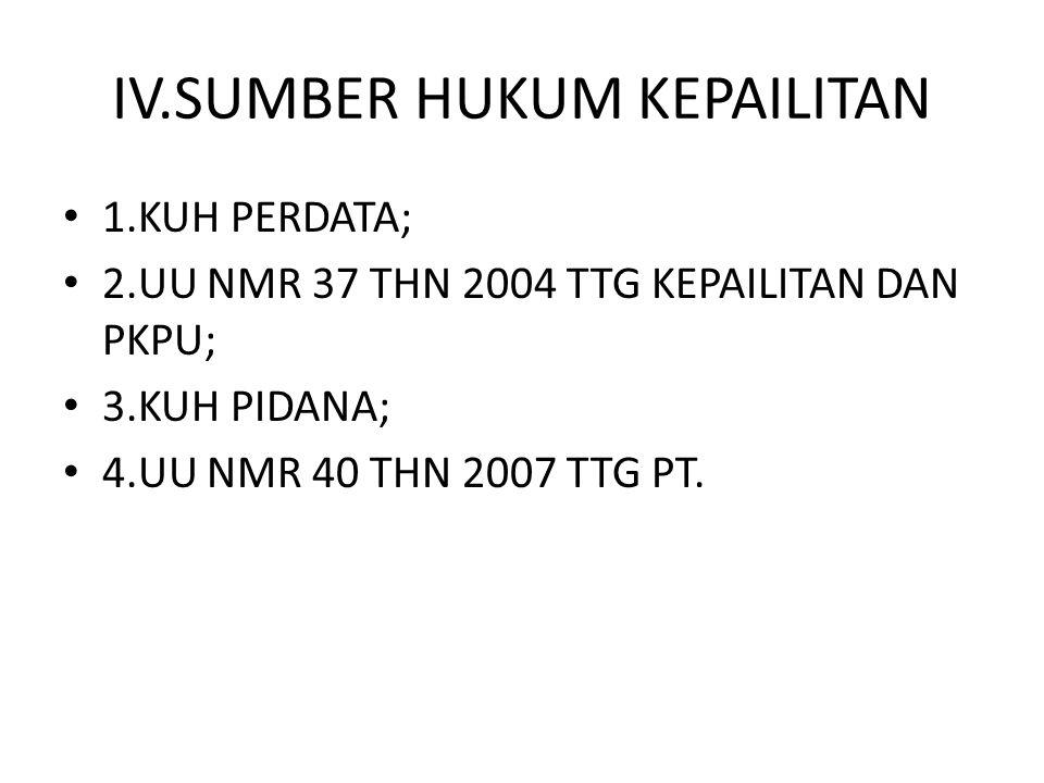 IV.SUMBER HUKUM KEPAILITAN