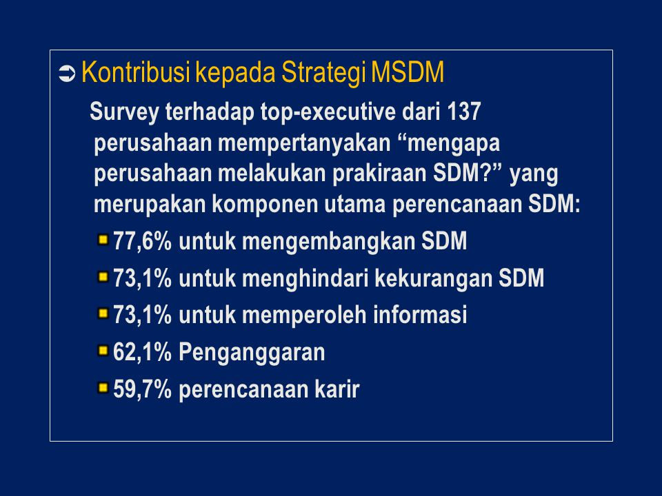 Kontribusi kepada Strategi MSDM