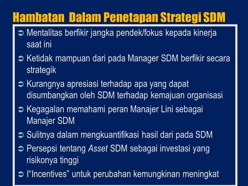 Hambatan Dalam Penetapan Strategi SDM