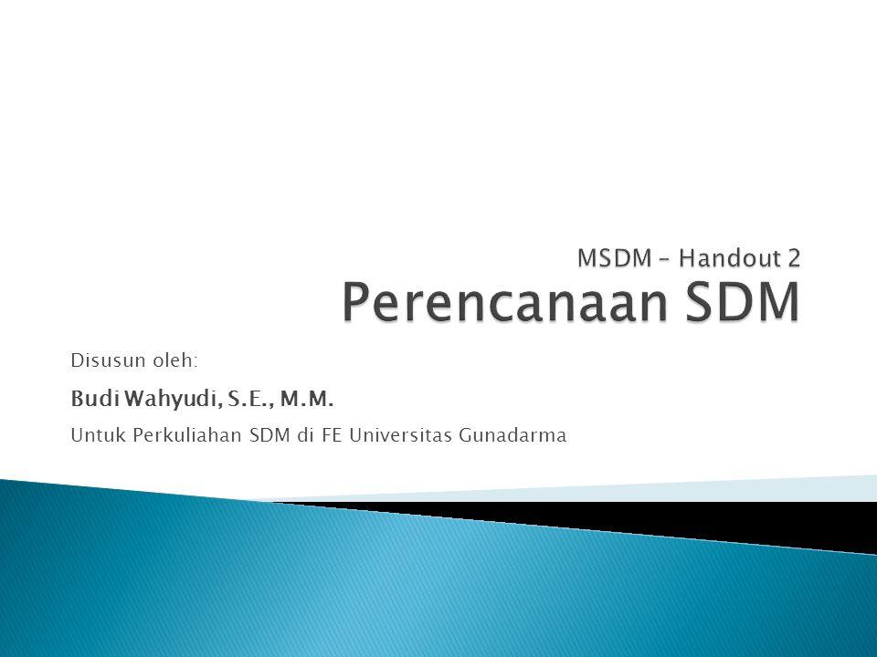 MSDM – Handout 2 Perencanaan SDM