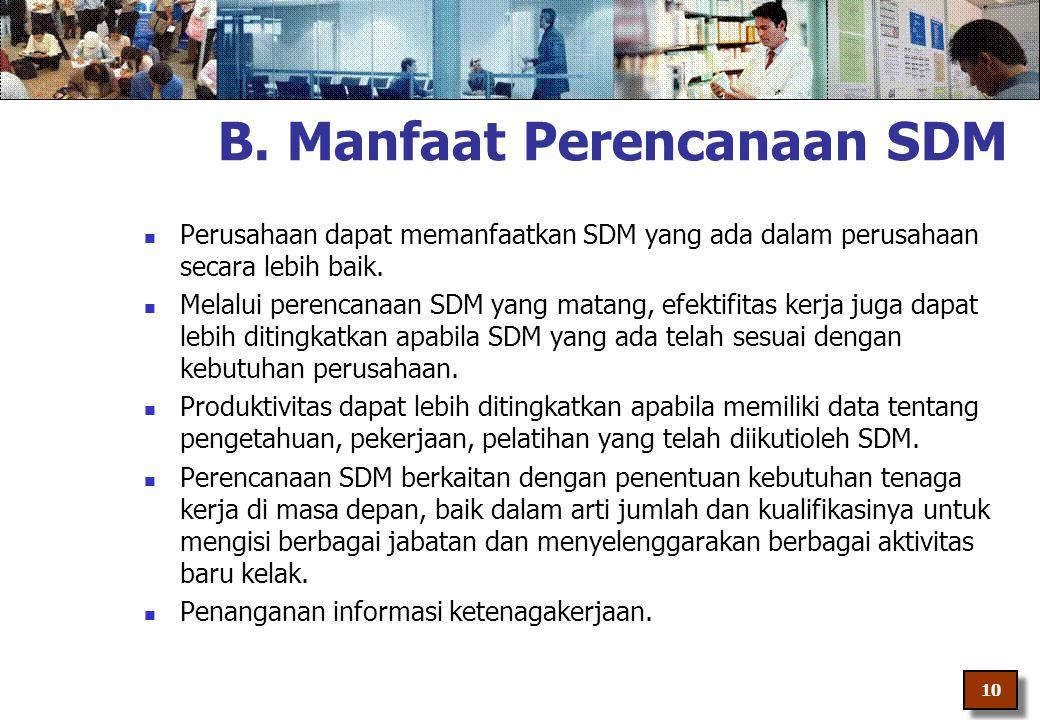 B. Manfaat Perencanaan SDM